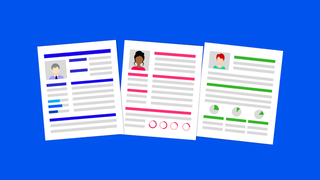 illustrasjon av tre jobbsøknader eller CVer med bilde av personene som søker