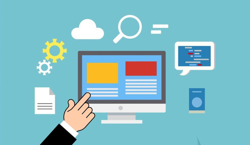 En illustrasjon av en hånd som peker på en dataskjerm med bilder og tekstbokser. Utenfor finner du et dokument, et tannjul, en sky, et forstørrelsesglass og en snakkeboble og en høyttaler. Hensikten med bildet er å vise at du finner informasjon på nettsidene nevnt over i teksten.